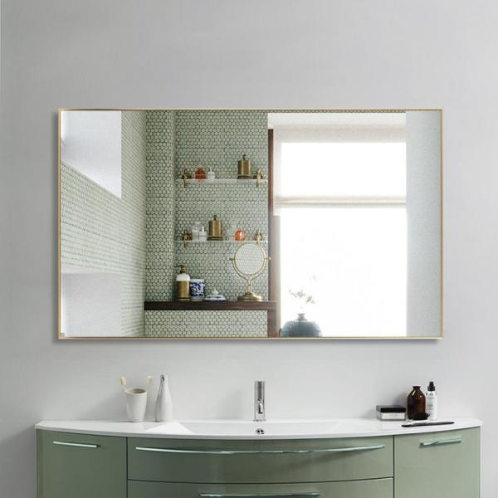 Neu Type 51 In X 31 In Large Modern Rectangle Metal Framed Bathroom Vanity Mirror Jj00939zze The Home Depot