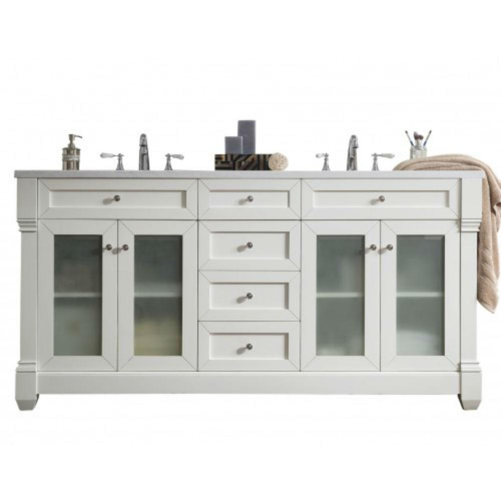 Double Vanity Cottage White Solid Surface Vanity Top