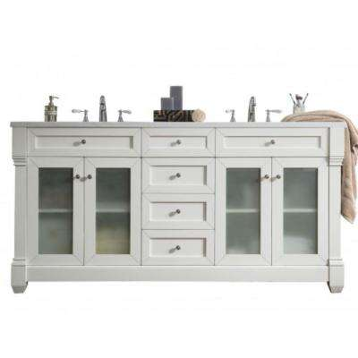 Weston 72 in. W Double Vanity in Cottage White with Solid Surface Vanity Top in Arctic Fall with White Basin