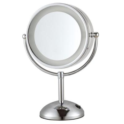 Glimmer 8.5 in. x 8.5 in. Free Standing LED 3x Round Makeup Mirror in Chrome