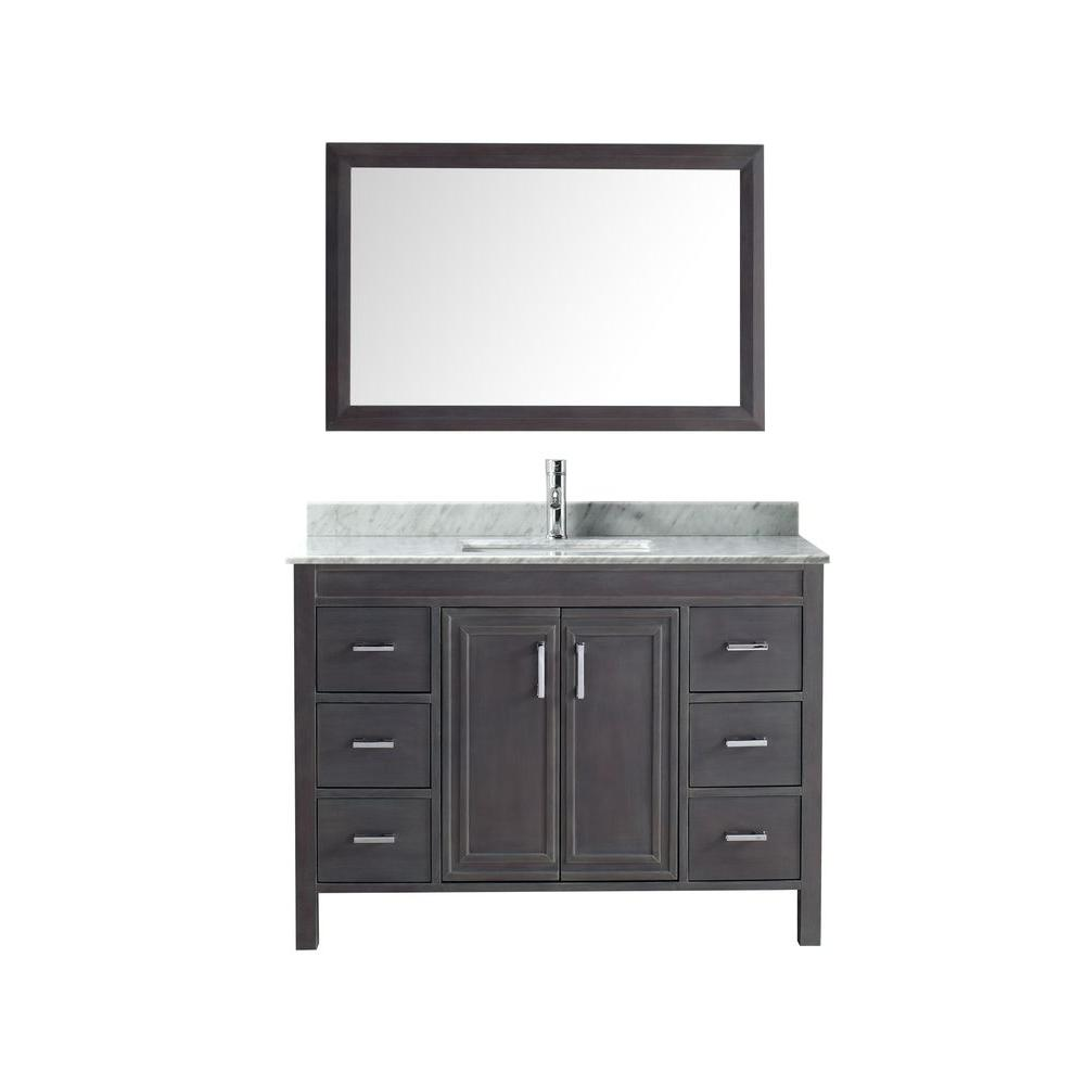 Dawlish 48 in. Vanity in French Gray with Marble Vanity Top