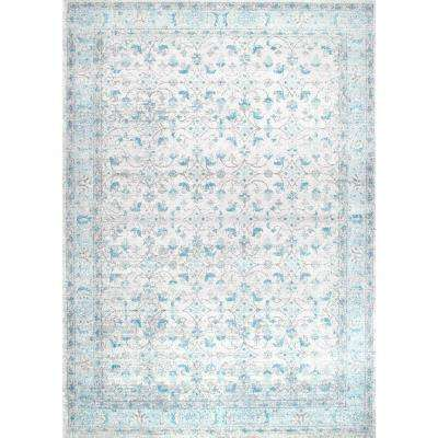 Vintage Lindy Aqua 9 Ft X 12 Area Rug