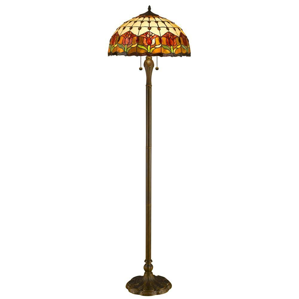 62 in. Tiffany Style Tulips Floor Lamp
