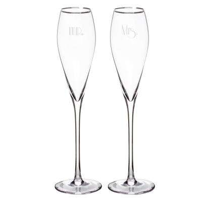 Mr. and Mrs. 7 oz. Glass Gatsby Champagne Flutes