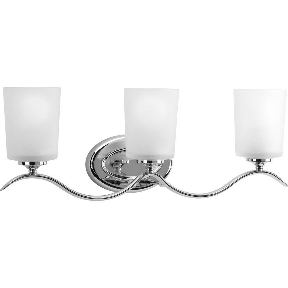 Progress Lighting Inspire Collection 3 Light Chrome Vanity With Etched Glass Shades