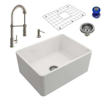 Classico All-in-One Farmhouse Fireclay 24 in. Single Bowl Kitchen Sink with Livenza Brushed Nickel Faucet and Soap Disp