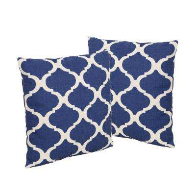 Fundy Blue and Beige Square Outdoor Throw Pillows (Set of 2)