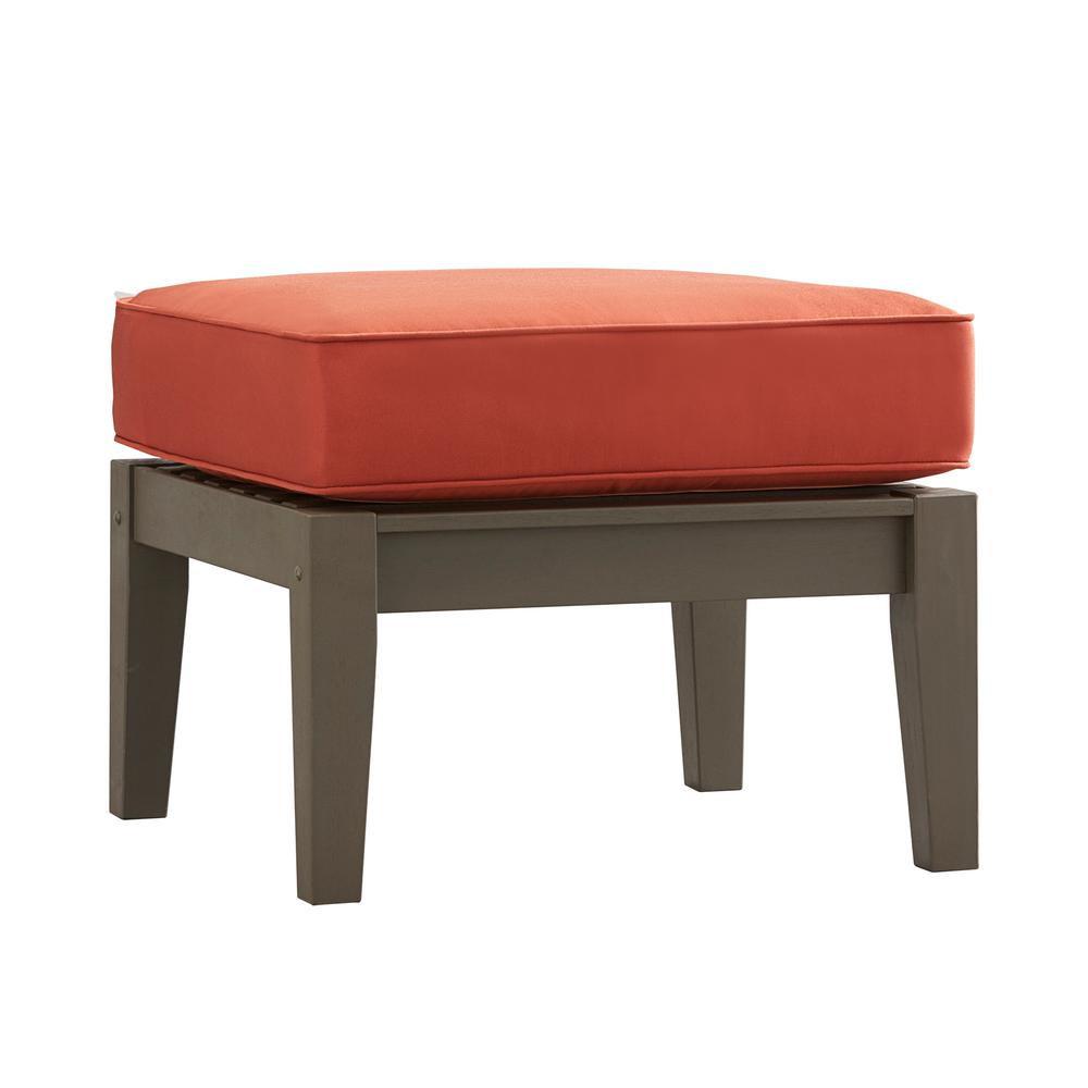 HomeSullivan Verdon Gorge Gray Oiled Wood Outdoor Ottoman with Red Cushion