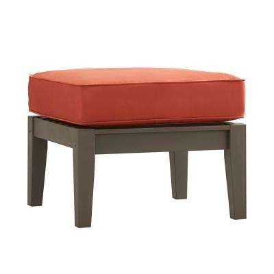 Verdon Gorge Gray Oiled Wood Outdoor Ottoman with Red Cushion