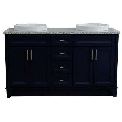 61 in. W x 22 in. D Double Bath Vanity in Blue with Granite Vanity Top in Gray with White Round Basins