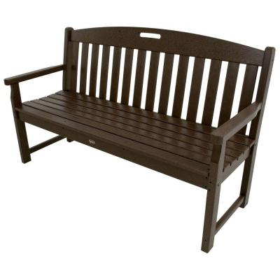 Yacht Club 60 in. Plastic Outdoor Bench in Charcoal Black