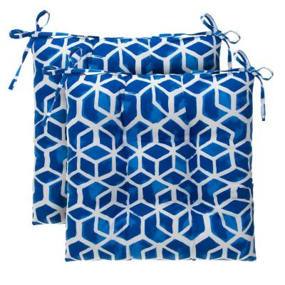 Cubed Blue Rectangular Tufted Outdoor Seat Cushion (2-Pack)