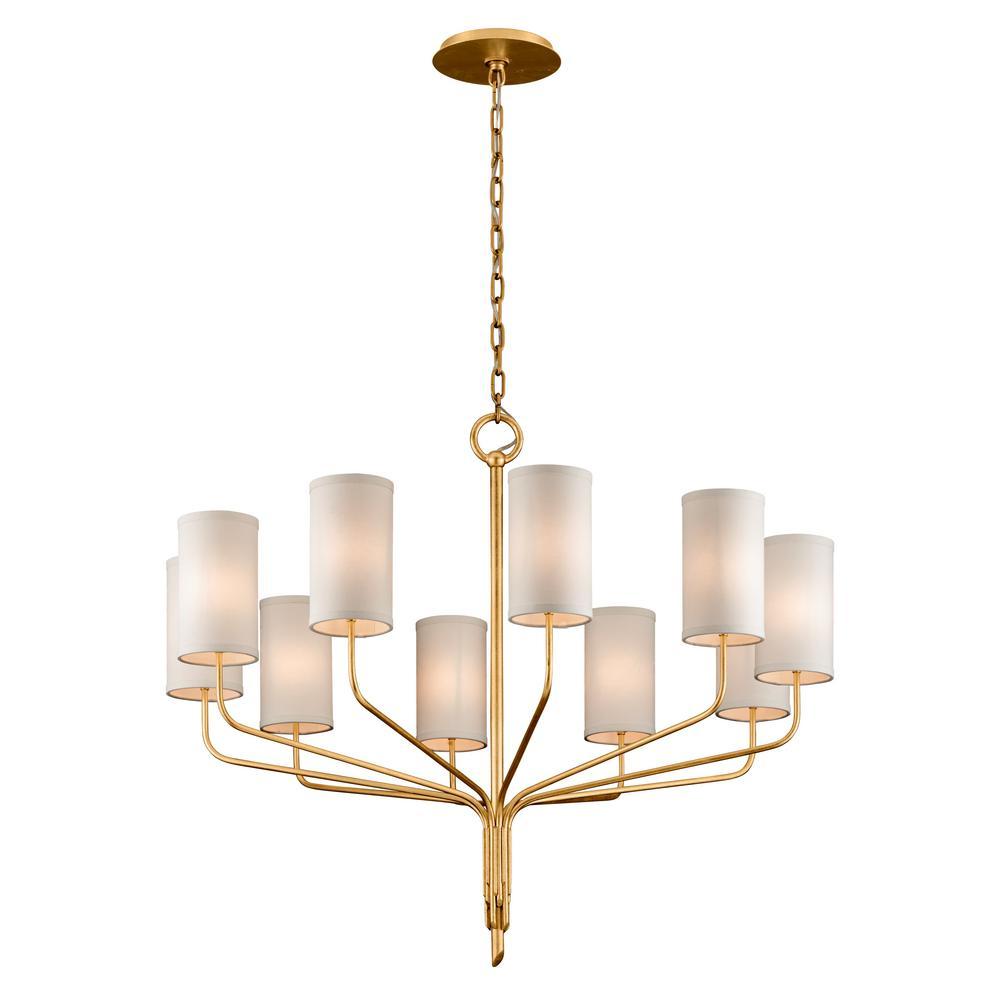 Troy Lighting Juniper 10 Light Textured Gold Leaf 42 In D Chandelier With Off White Hardback Linen Shade