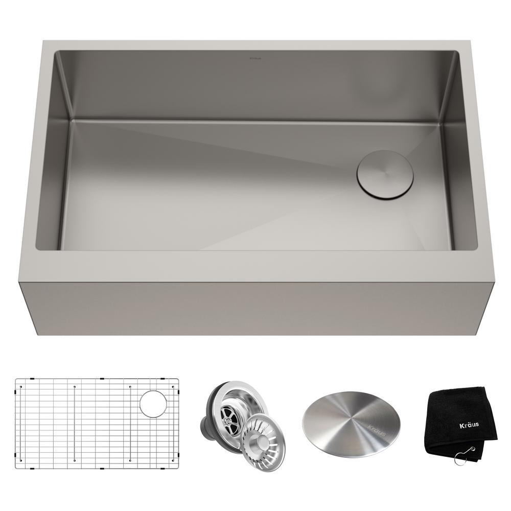 Standart PRO Farmhouse/Apron-Front Stainless Steel 33 in. Single Bowl Kitchen Sink