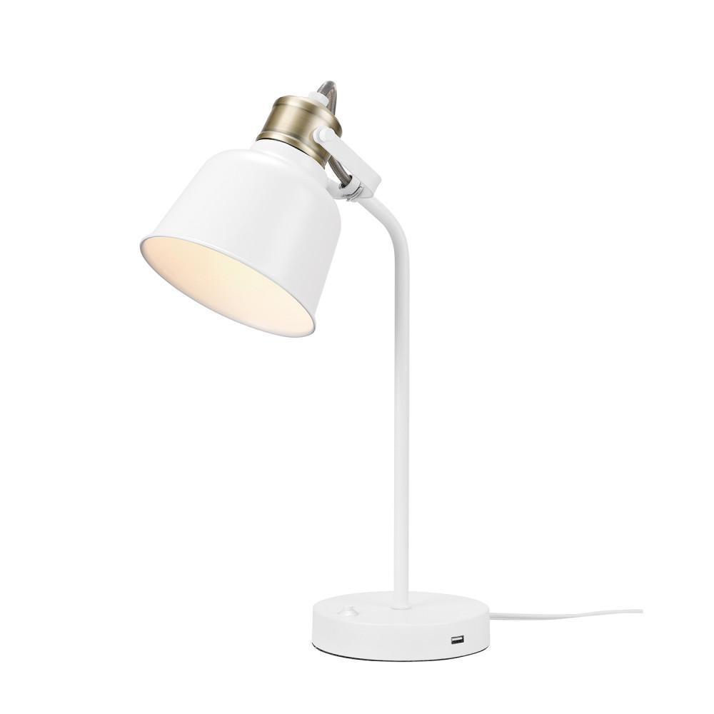 Dakota 18 in. Matte White with Brass Accents Desk Lamp