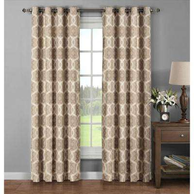 Semi-Opaque Avila Printed Cotton Extra Wide 96 in. L Grommet Curtain Panel Pair, Taupe (Set of 2)