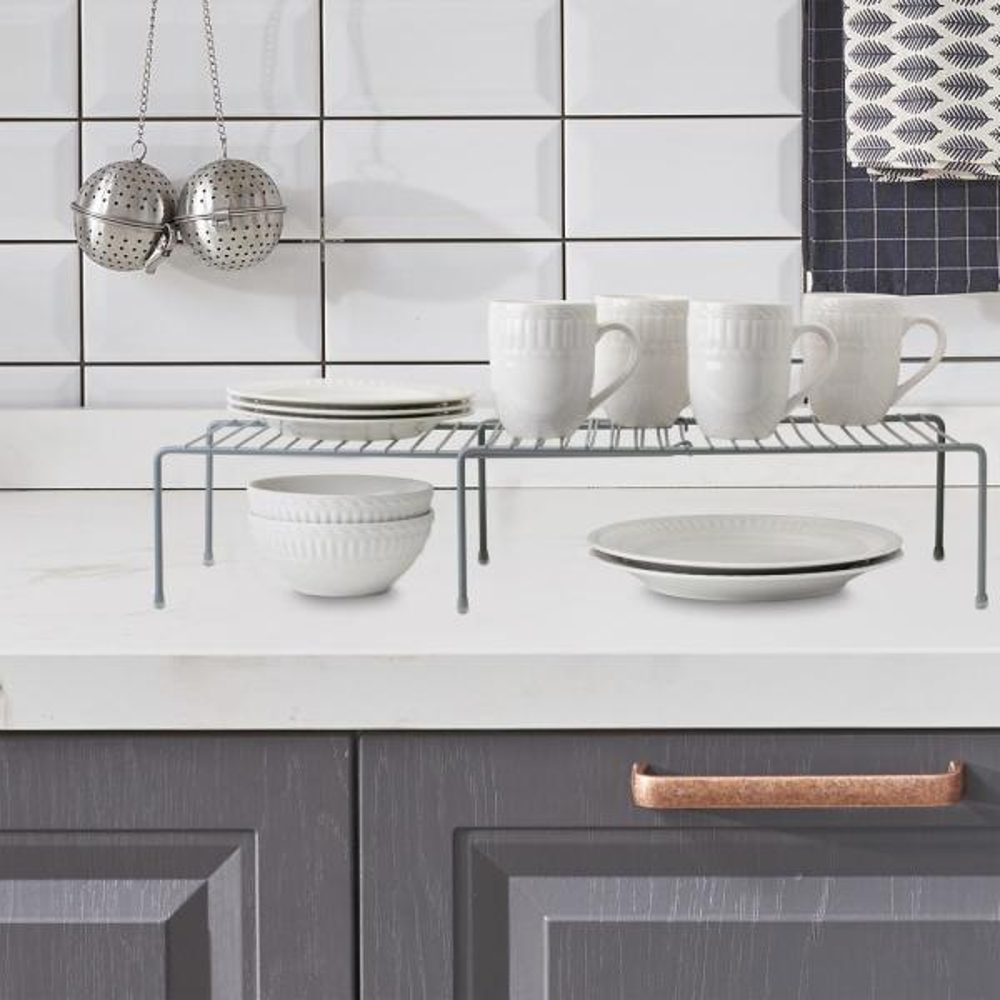Kitchen Details Expandable Grey Cabinet Shelf Organizer 24126 Grey The Home Depot