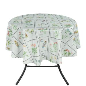 Berrnour Home 55 inch Round Indoor and Outdoor Butterfly Meadow Design Tablecloth for Dining Table by Berrnour Home