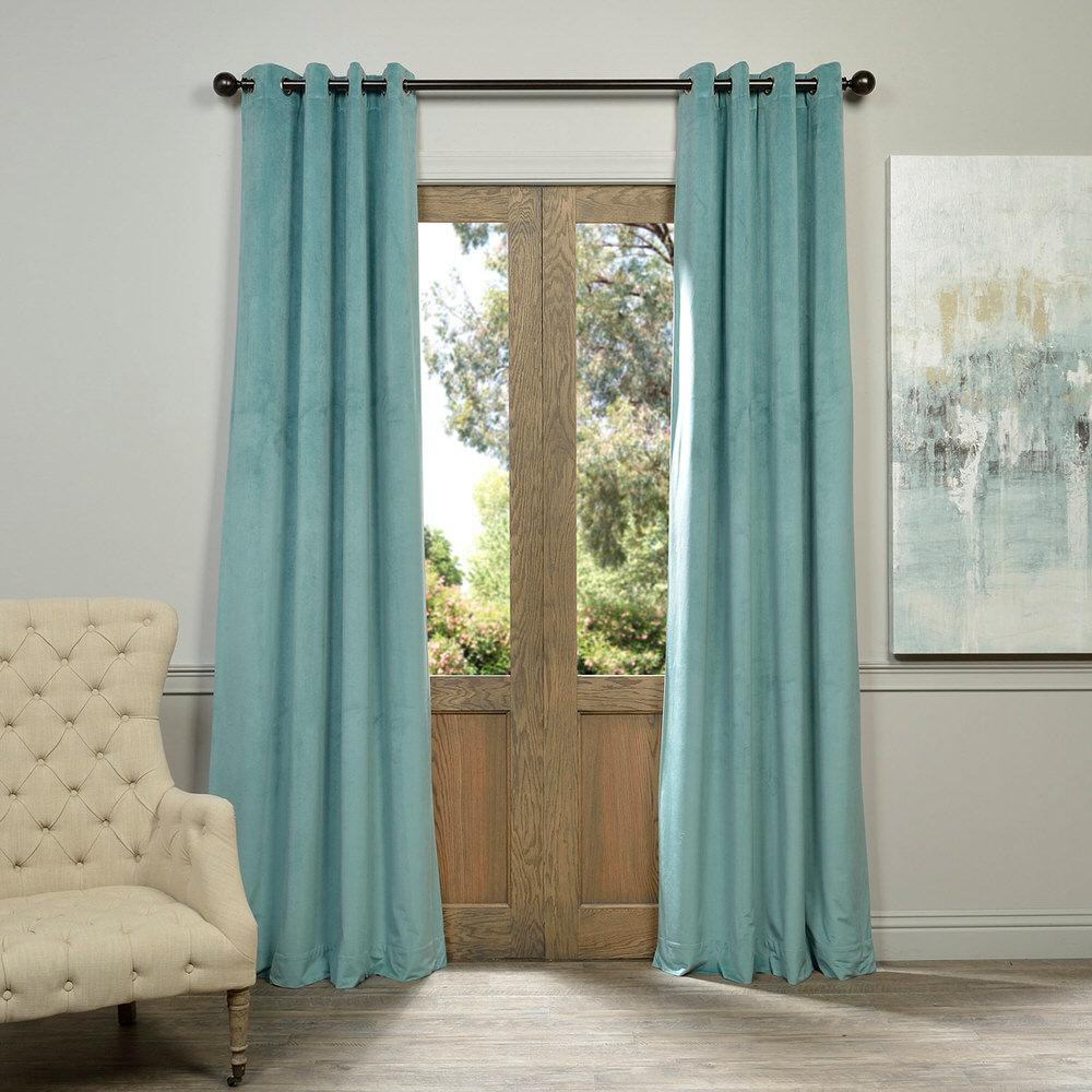 Exclusive Fabrics & Furnishings Blackout Signature Aqua Mist Blue Grommet Blackout Velvet Curtain - 50 in. W x 84 in. L (1 Panel)