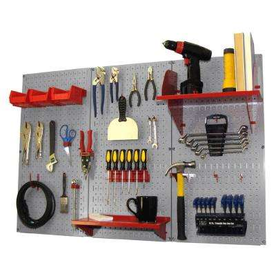 32 in. x 48 in. Metal Pegboard Standard Tool Storage Kit with Gray Pegboard and Red Peg Accessories