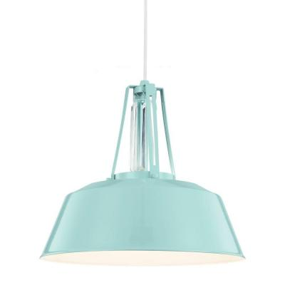 Freemont 16 in. W 1-Light Hi Gloss Blue Warehouse Style Pendant with Linear Crystal Crown Detail and White Cord