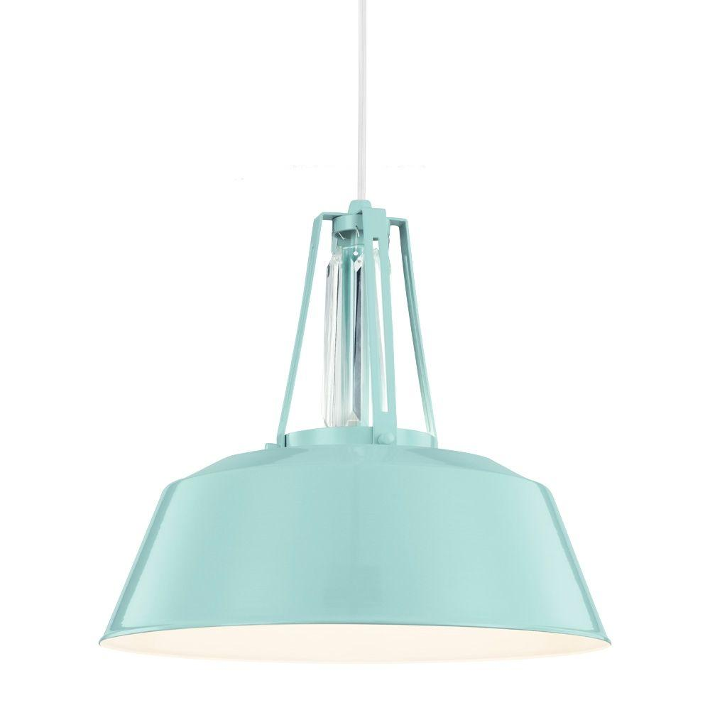 Feiss Freemont 1-Light Hi Gloss Blue Pendant-P1304SHBL - The Home Depot