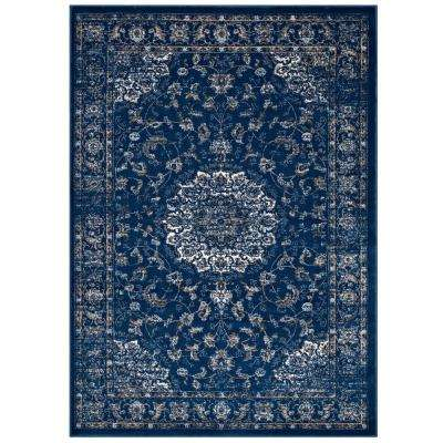 Lilja Distressed Vintage Persian Medallion 8 ft. x 10 ft. Area Rug in Moroccan Blue, Beige and Ivory