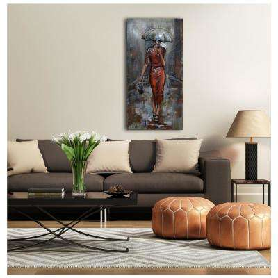 "24 in. x 47 in. ""Lady and Umbrella"" Metal Wall Art"