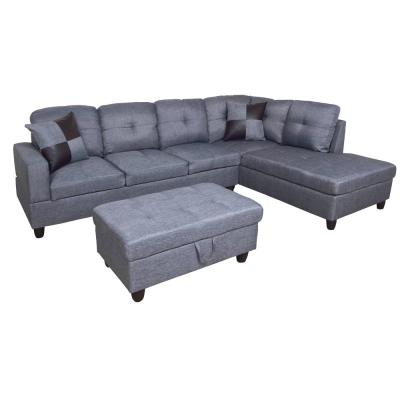 Gray Right Chaise Sectional With Storage Ottoman