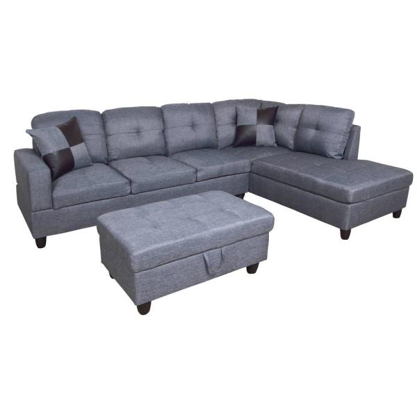 Tremendous Gray Flannelette Left Chaise Sectional With Storage Ottoman Ibusinesslaw Wood Chair Design Ideas Ibusinesslaworg