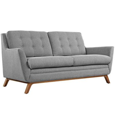 Beguile 71.5 in. Expectation Gray Polyester 2-Seater Loveseat with Wood Legs