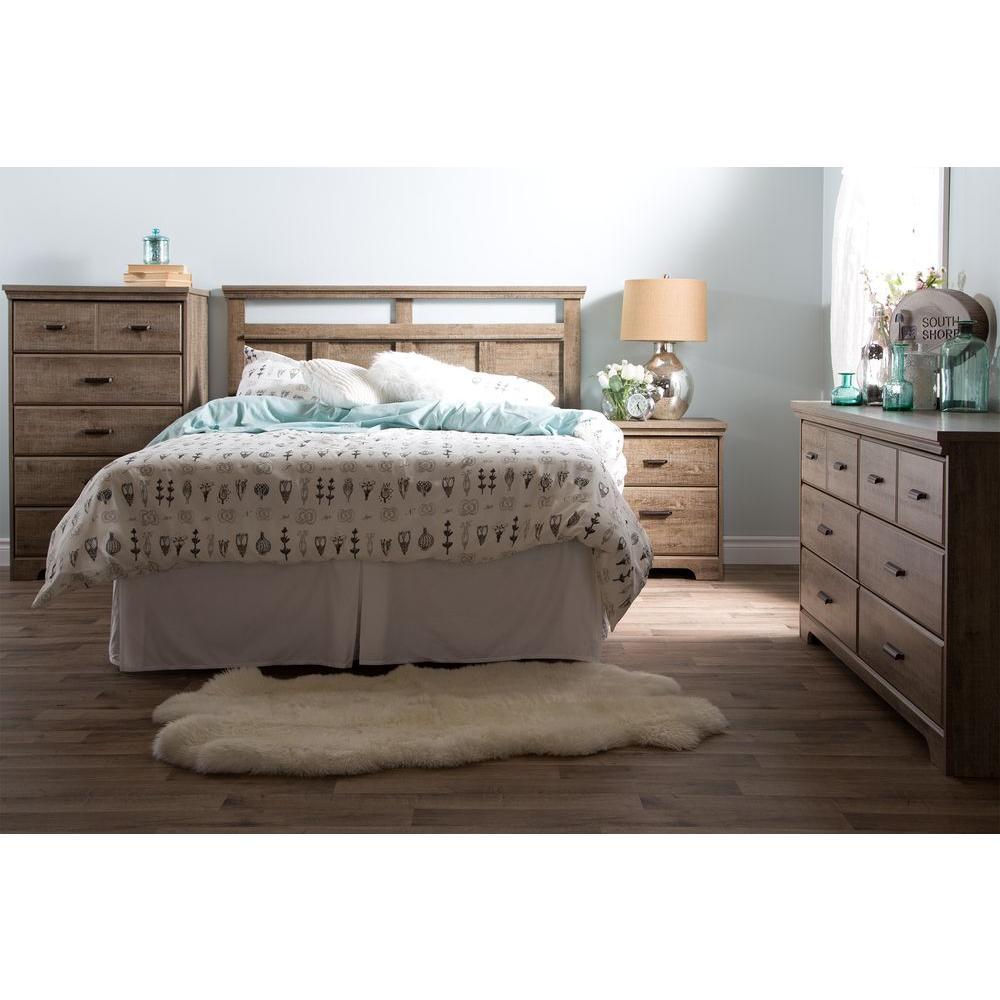 South Shore Versa Weathered Oak FullQueen Headboard The - Weathered oak bedroom furniture