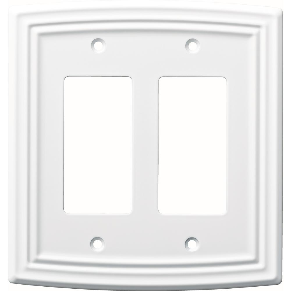 Liberty Emery Decorative Double Rocker Switch Cover Pure White
