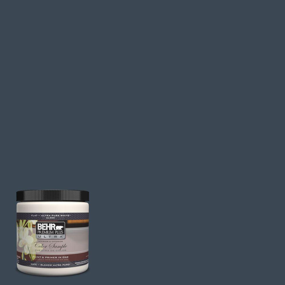 BEHR Premium Plus Ultra 8 oz. #UL230-1 Starless Night Flat Interior/Exterior Paint and Primer in One Sample