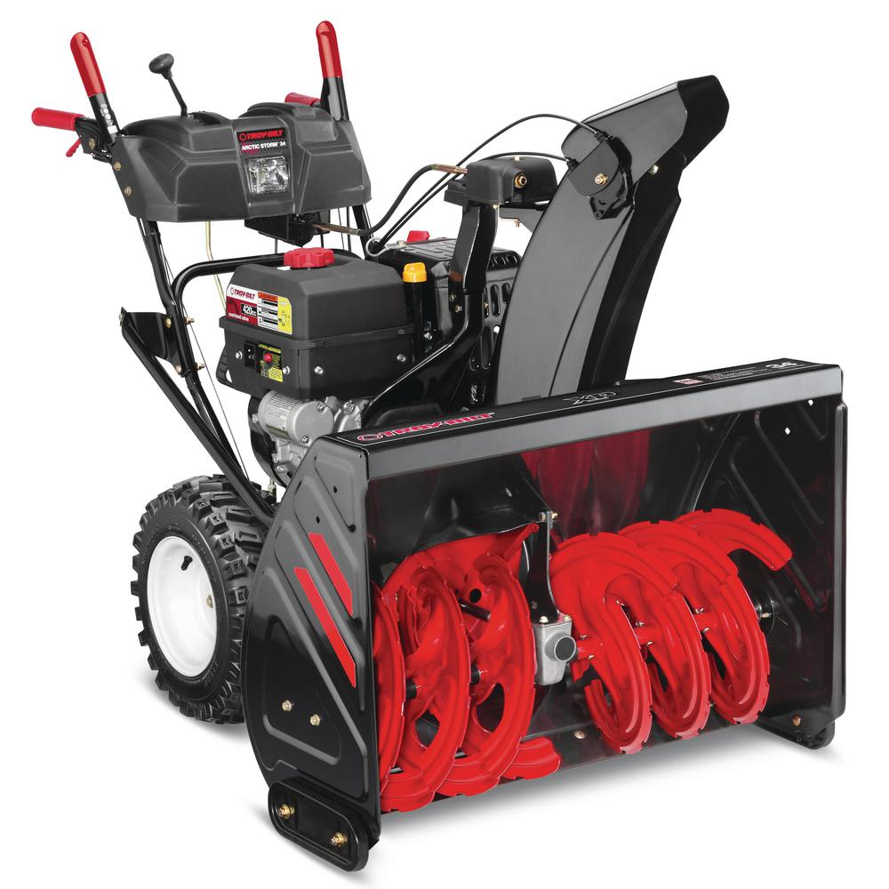 Troy Bilt 34 In 420 Cc Two Stage Gas Snow Blower With Electric