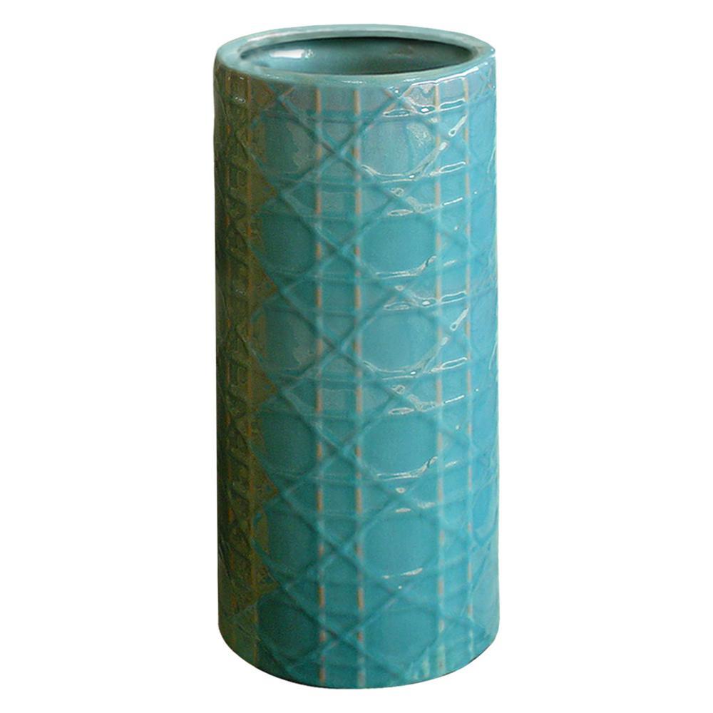 Cane Turquoise Ceramic Umbrella Stand