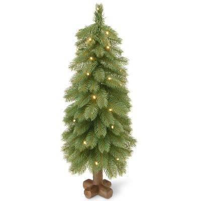 24 in. Feel-Real Bayberry Cedar Tree with Battery Operated LED Lights