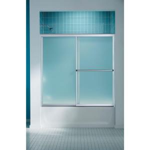 Sterling Prevail 59-3/8 inch x 56-3/8 inch Framed Sliding Bathtub Door in Silver with Handle by STERLING