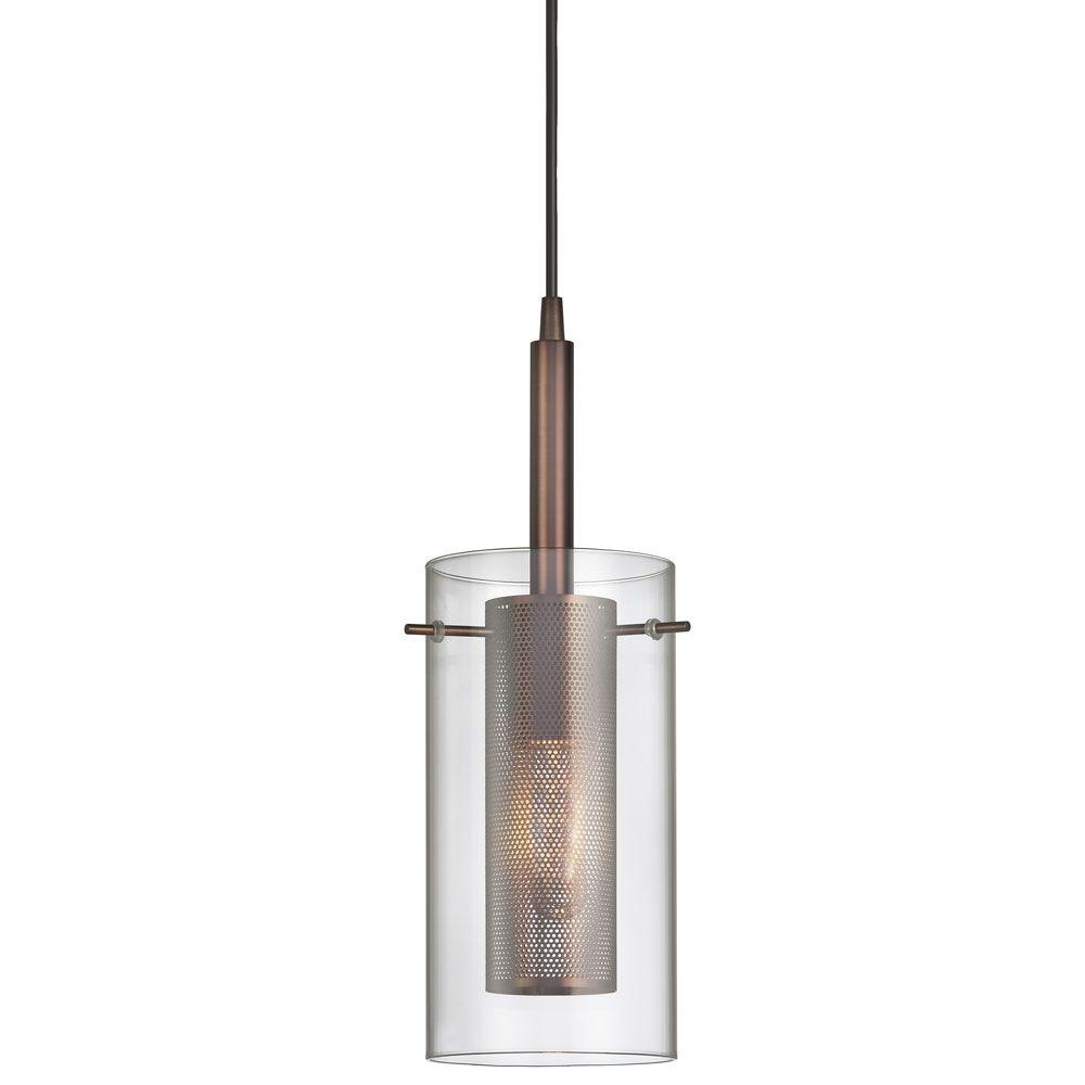 Radionic Hi Tech Nella 1-Light Oil-Brushed Bronze Pendant with Clear Glass/Steel Mesh