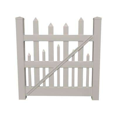 Salem 4 ft. W x 4 ft. H Tan Vinyl Picket Fence Gate