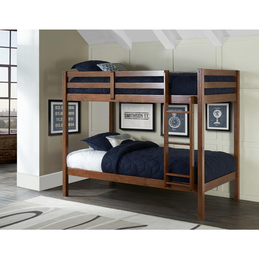 Hillsdale Walnut Brown Twin Over Twin Bunk Bed Caspian Product Photo