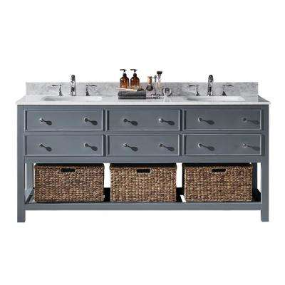 Elodie 72 in. W x 22 in. D x 34.21 in. H Bath Vanity in Cashmere Grey with Marble Vanity Top in White with White Basins