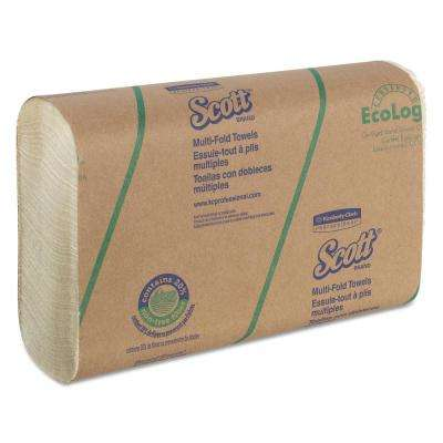 9 2/5 x 9 1/5 Multi-Fold Towels, 20% Plant Fiber, Soft Wheat, 250 Per Pack, 16 Pack Per Carton