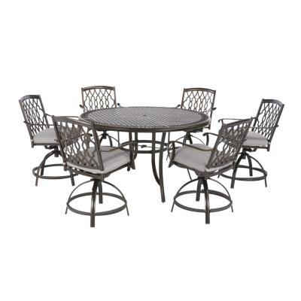 Ridge Falls 7-Piece Dark Brown Aluminum Outdoor Patio High Dining Set with CushionGuard Stone Gray Cushions