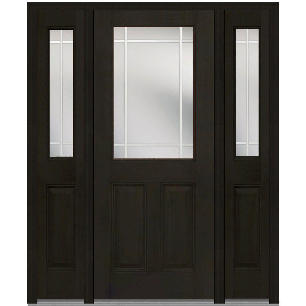 MMI Door 64 in. x 80 in. Internal Grilles Left-Hand 1/2-Lite Clear Stained Fiberglass Mahogany Prehung Front Door with Sidelites