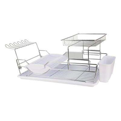 18.5 in. x 12.5 in. x 5.25 in. 2-Tier Dish Drainer in Black