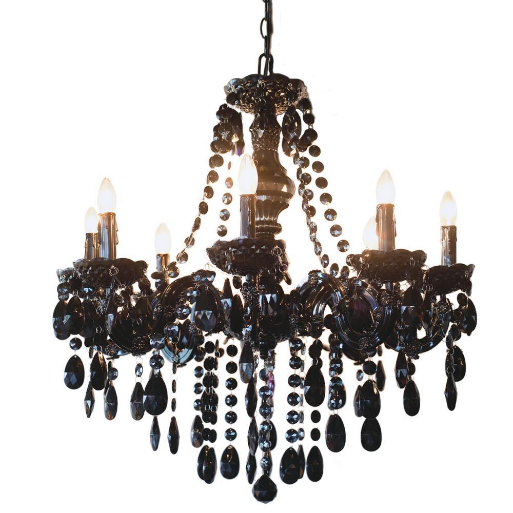 8-Light Black Glam Dame Jeweled Chandelier