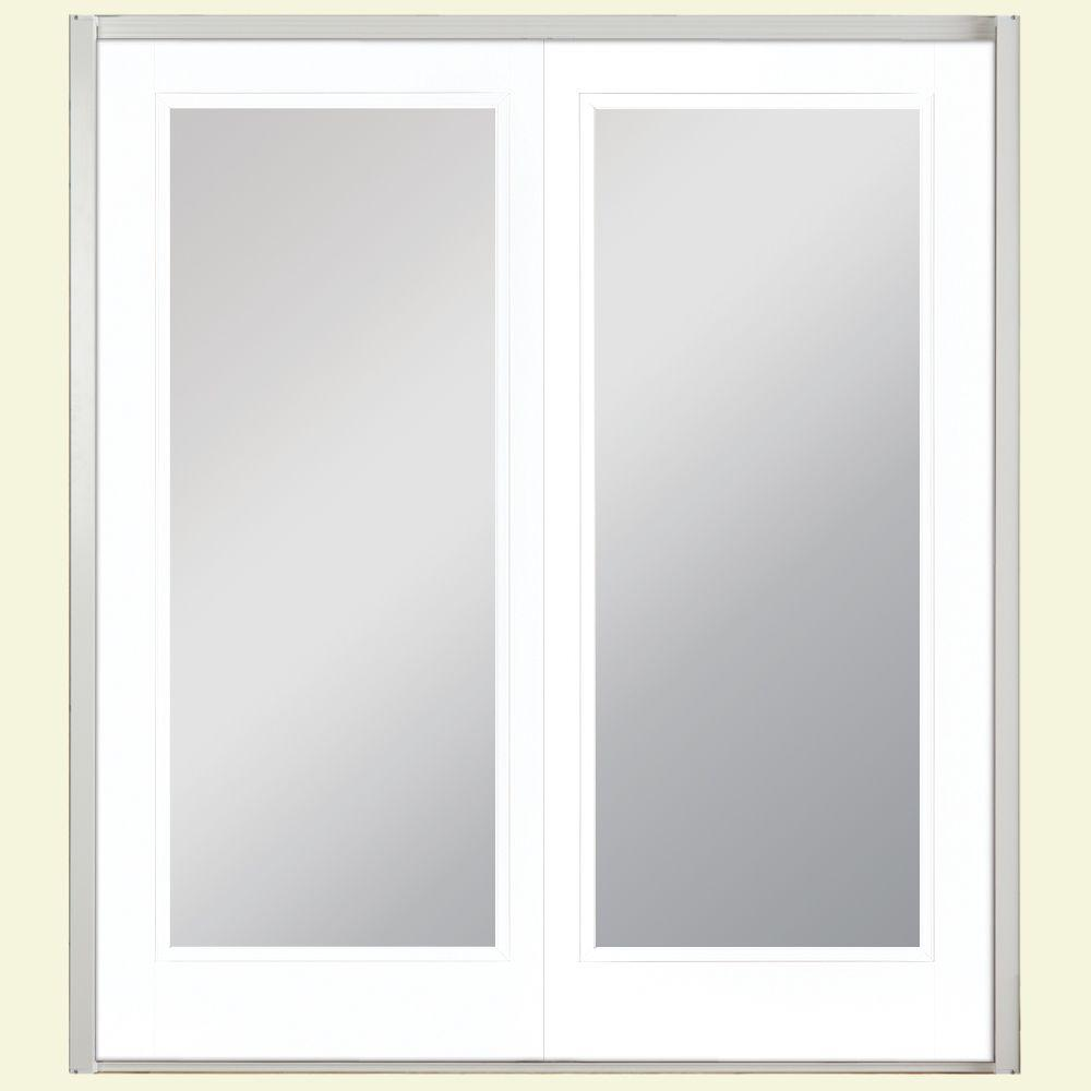 Masonite 72 In X 80 In Ultra White Prehung Left Hand Inswing Mini Blind Steel Patio Door With