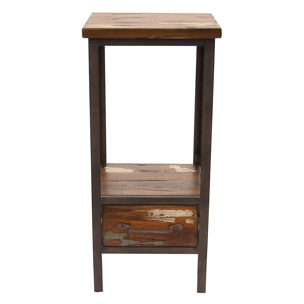 Three hands 13 in x 12 in brown wood metal end table for 12 x 12 accent table