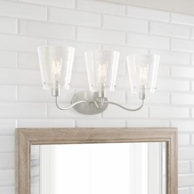 Archdale 3-Light Brushed Nickel Vanity Light with Clear Water Glass